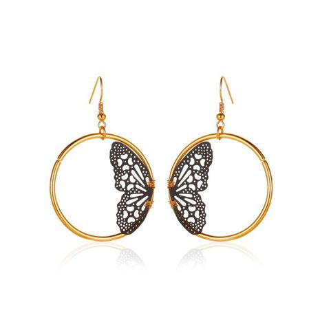 new creative lace butterfly retro geometric hollow round earrings wholesale NHMO251003's discount tags