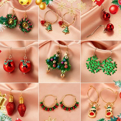 New Ornaments Set Santa Claus Earrings Simple Snowman Bell Earrings wholesale NHMO251000's discount tags