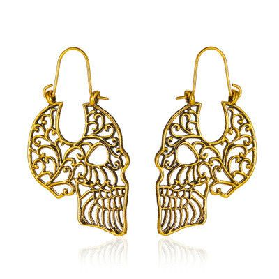 new Halloween Gothic retro hollow carved skull earrings wholesale NHMO251004's discount tags
