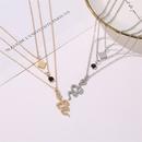 new diamond serpentine pendant retro 3layer long geometric necklace for women NHMO251007