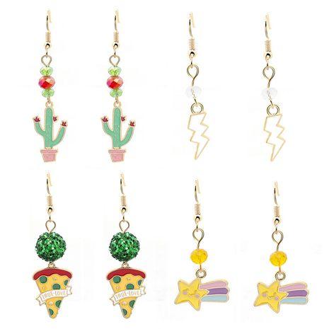 new cartoon cactus lightning pizza rainbow unicorn  cute earrings wholesale NHMO251019's discount tags