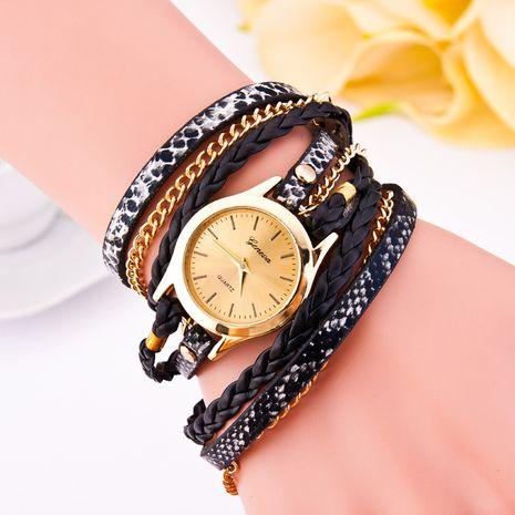 Reloj de correa trenzada de leopardo Pulsera de círculo de PU Reloj de moda para mujer al por mayor NHSS251030's discount tags