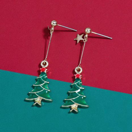 Chritmas Eve alloy oil drop cartoon Christmas tree earrings ear hooks wholesale NHJE251031's discount tags