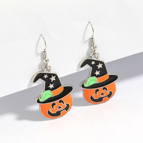 hot sale fashion cartoon pumpkin ghost alloy oil drop Halloween ear hook earrings wholesale NHJE251032's discount tags