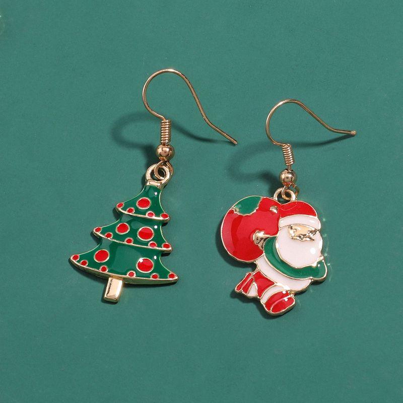Chritmas new alloy drip oil Santa Claus Christmas tree earrings wholesale NHJE251034