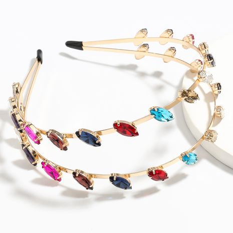 nueva aleación de cristal con incrustaciones de diamantes de doble capa flequillo moda diadema al por mayor NHJE251036's discount tags