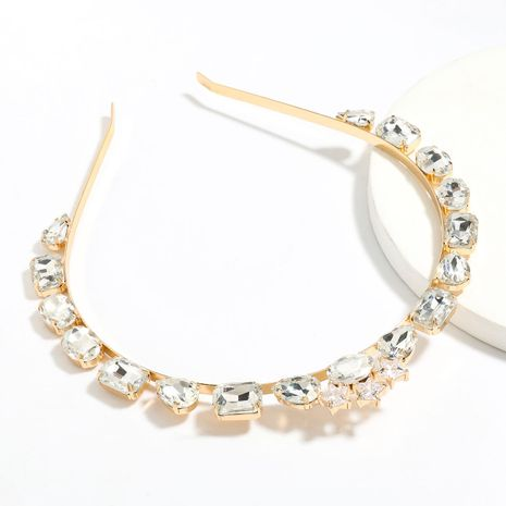 Fashion super flash multi-layer star alloy diamond-studded glass bangs headband wholesale NHJE251037's discount tags