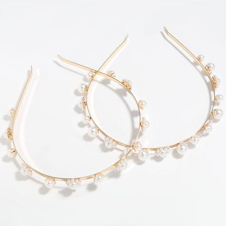 Fashion alloy inlaid pearl women bangs headband hot sale wholesale NHJE251038's discount tags