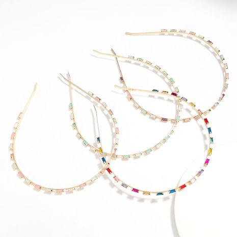 alloy diamond-studded square rhinestone colored diamond flat bangs headband wholesale NHJE251040's discount tags