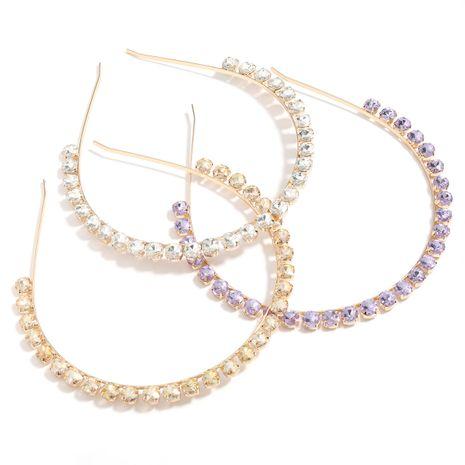 simple alloy diamond round glass diamond flat headband wholesale NHJE251041's discount tags