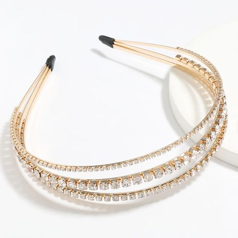 alloy diamond inlaid pearl three-layer headband wholesale NHJE251042's discount tags