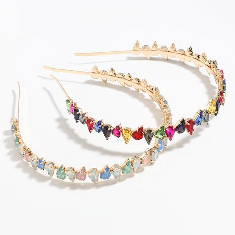 hot-selling alloy diamond-studded drop-shaped rhinestone colored handband wholesale NHJE251043's discount tags