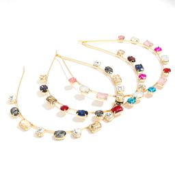 alloy diamond-studded geometric glass drill flat headband  wholesale NHJE251044