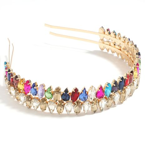 exaggerated alloy diamond-studded colored drop-shaped willow-shaped glass headband wholesale NHJE251045's discount tags