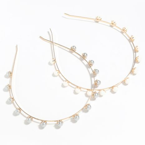 alloy inlaid imitation shell beads resin bangs wash headband wholesale NHJE251046's discount tags