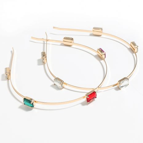 Fashion alloy diamond-studded glass colored exaggerated headband wholesale NHJE251047's discount tags