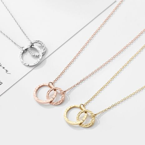 Fashion geometric double circle stainless steel women's necklace clavicle chain NHJJ251048's discount tags