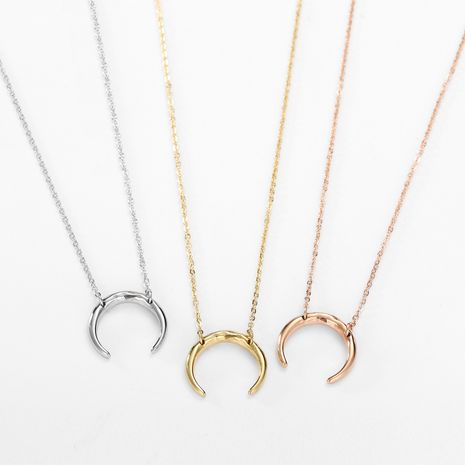 Moon Shaped Double Hole Female Necklace Stainless Steel women's Necklace  NHJJ251050's discount tags