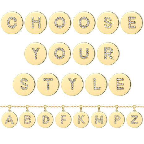 Cadena de clavícula de acero inoxidable vintage collar de mujer de 26 letras en inglés NHJJ251052's discount tags