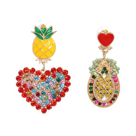 Exaggerated Geometric Shape Pineapple Fruit Heart Shaped Asymmetrical Women's Stud Earrings  NHJJ251065's discount tags