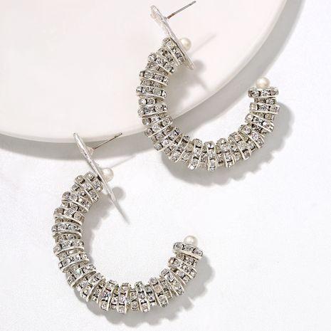 rhinestone inlaid semi-circular hollow space pattern exaggerated flashing diamond earrings wholesale NHJQ251070's discount tags