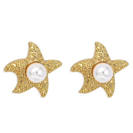 pure white pearl inlaid starfish shell ocean series earrings  wholesale NHJQ251071's discount tags