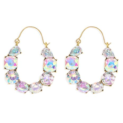 colored diamond inlaid U-shaped hollow alloy Exaggerated earrings wholesale NHJQ251073's discount tags