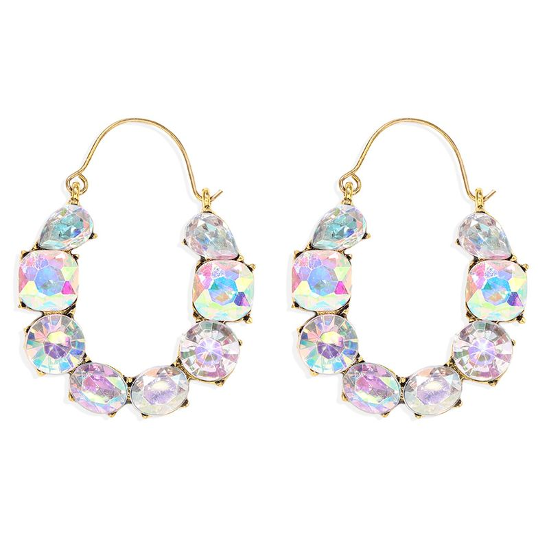 colored diamond inlaid U-shaped hollow alloy Exaggerated earrings wholesale NHJQ251073