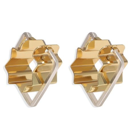 Hot selling diamond-shaped frame angular metal piece alloy geometric earrings wholesale NHJQ251075's discount tags