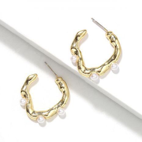 pure white pearl inlaid wavy round hollow creative fashion earrings wholesale NHJQ251076's discount tags
