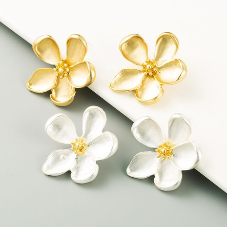 exaggerated golden flower S925 silver needle hypoallergenic fashion petal earrings wholesale NHLN251081's discount tags