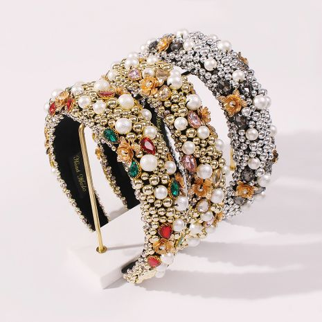 Diadema de aleación multicolor con incrustaciones de perlas de cristal de esponja gruesa de moda al por mayor NHMD251086's discount tags