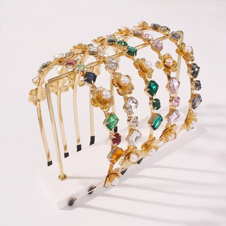Fashion Baroque colored glass diamond alloy women's pearl headband wholesale NHMD251087's discount tags