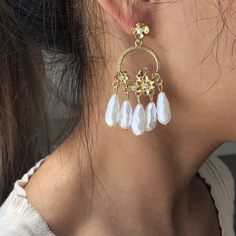 new exaggerated tassel pearl fashion alloy earrings hot sale wholesale NHMD251089's discount tags