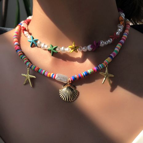 Fashion simple color starfish pearl ethnic style multi-layer shell alloy pendant  necklace for women NHMD251091's discount tags