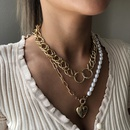 fashion punk style alloy pearl fashion heartshaped pendant texture multilayer chain womens necklace NHMD251097