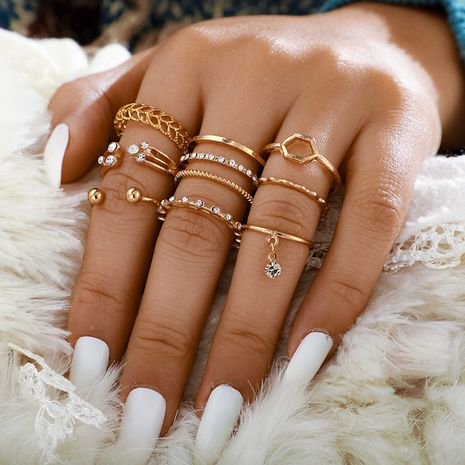 new diamond open ring 8-piece set ring index finger joint tail ring wholesale NHGY251099's discount tags