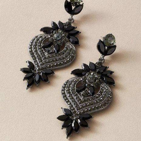 Flower full of diamonds flower lady black sweet love zircon earrings wholesale NHGY251117's discount tags