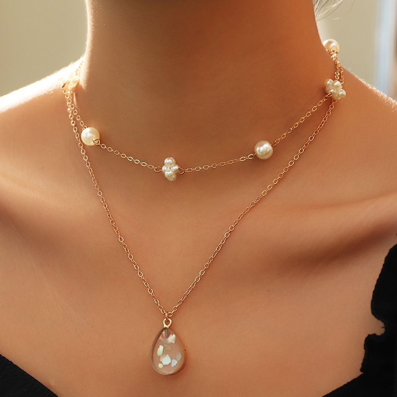 fashion imitation pearl choker necklace personality water drop double layer necklace NHNZ251125
