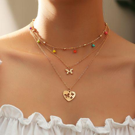 Collier papillon coeur d'amour avec perles de riz de couleur NHNZ251129's discount tags