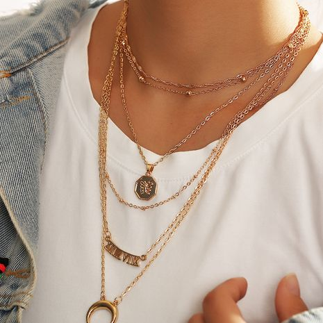 Fashion multi-layer moon 6 combinations  letter pendant women's necklace NHNZ251132's discount tags