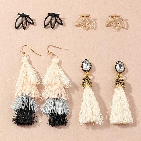 retro fashion long tassel  simple metal earrings wholesale NHNZ251133's discount tags