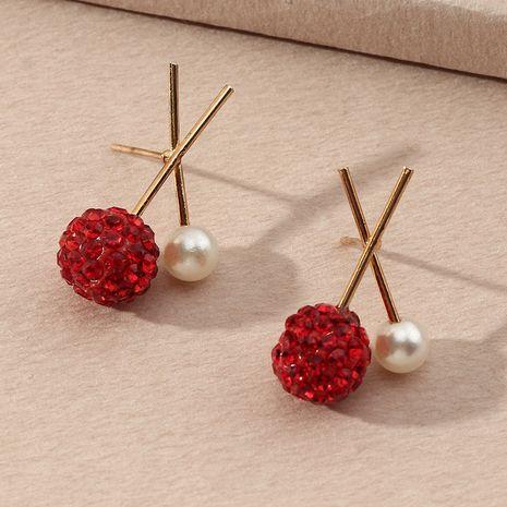 simple cross rhinestone pearl earrings wholesale nihaojewelry NHNZ251136's discount tags