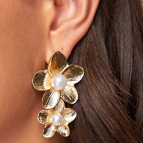 metal double flower pearl earrings wholesale NHNZ251139's discount tags