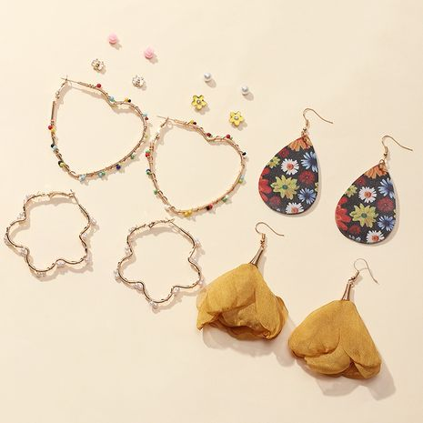 simple geometric metal fashion cloth flower earrings 8 pairs wholesale NHNZ251141's discount tags