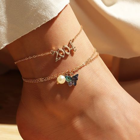 wholesale wild simple digital pendant foot decoration abalone shell butterfly anklet NHNZ251146's discount tags