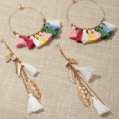 simple metal geometric round ethnic style color tassel earrings wholesale NHNZ251145's discount tags