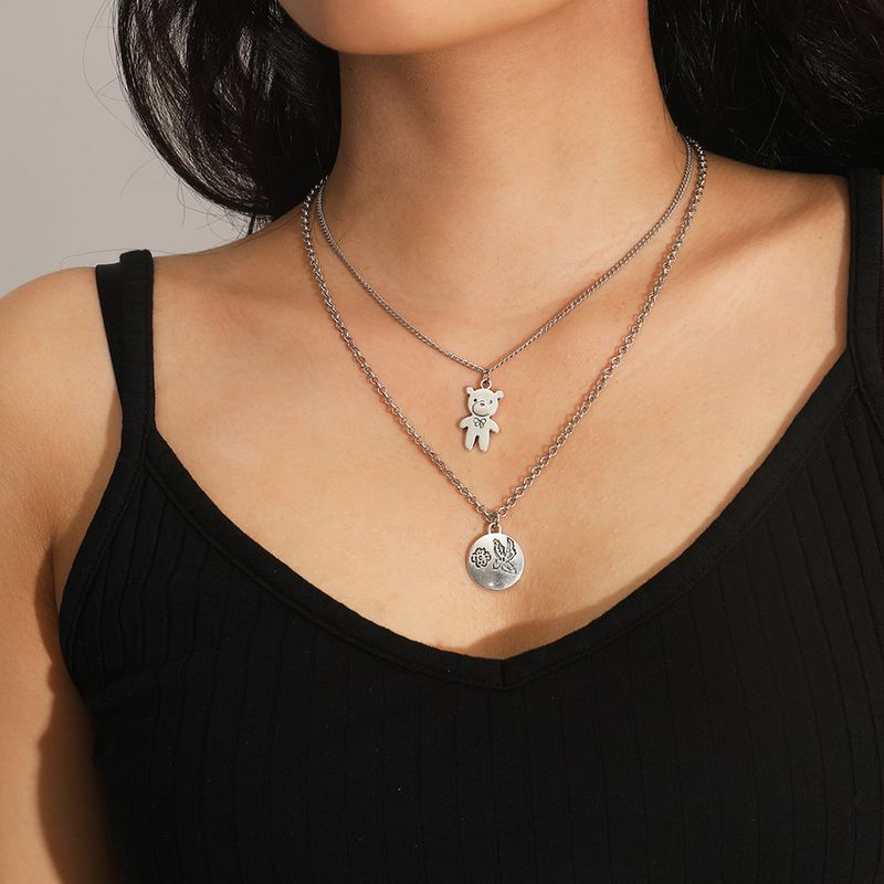Fashion cute bear  metal clavicle necklace  alloy women's necklace  NHXR251167