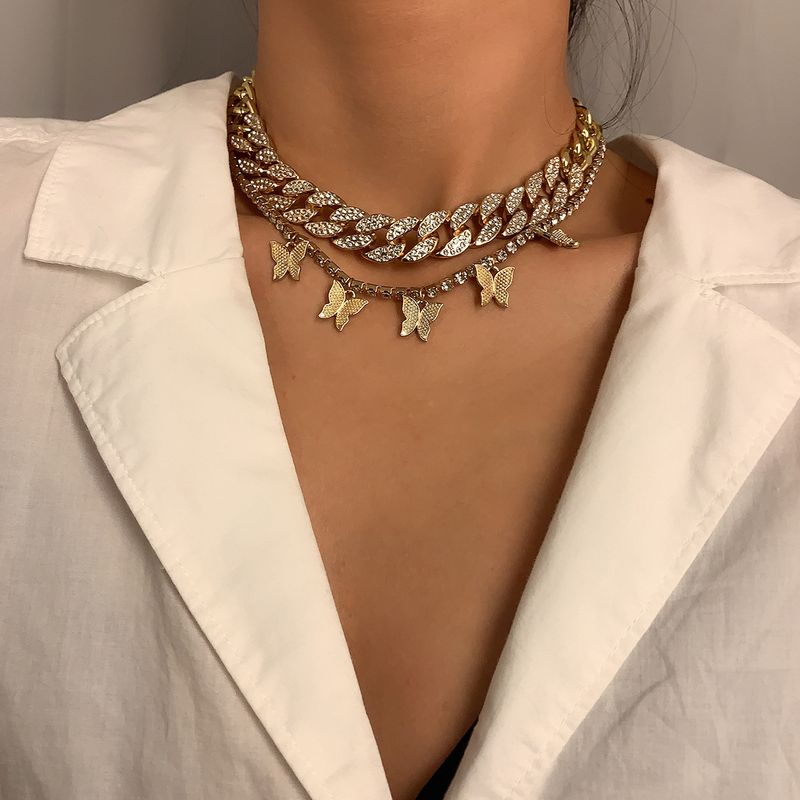 Vintage multilayer diamond butterfly  womens necklace NHXR251168