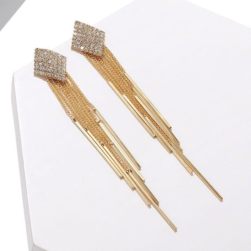 exaggerated square tassel micro-inlaid zircon fashion long earrings wholesale NHPF251200